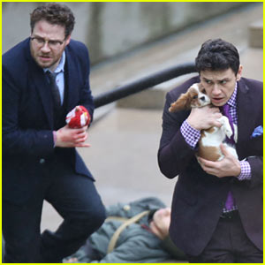 James Franco Cradles Puppy with Seth Rogen for 'Interview'