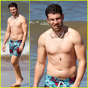 Max Greenfield Shirtless Vacation With Bikini Clad Wife