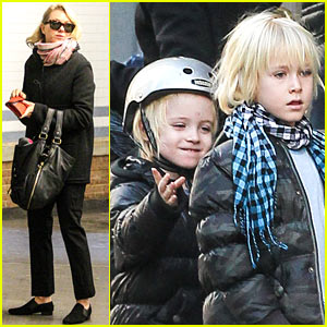 Naomi Watts Takes Subway While Her Boys Bike to School!