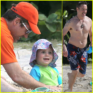 Robert Downey, Jr. Goes Shirtless, Plays with Exton in St Barts!