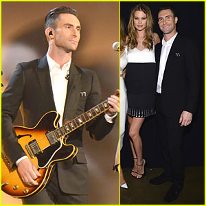 Adam Levine & Behati Prinsloo: Backstage at Beatles Tribute!