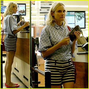 Diane Kruger Mixes Stripes & Polka-dots for Grocery Run!