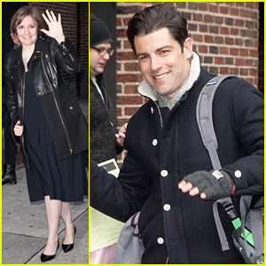 Lena Dunham & Max Greenfield: 'David Letterman' Guests!