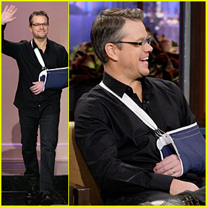 Matt Damon Wears Arm Sling on 'Tonight Show with Jay Leno'!