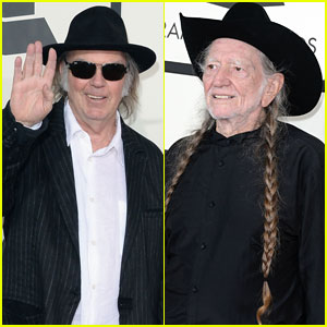 Neil Young & Willie Nelson - Grammys 2014 Red Carpet