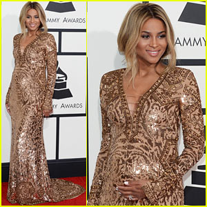 Ciara Holds Her Baby Bump on Grammys 2014 Red Carpet