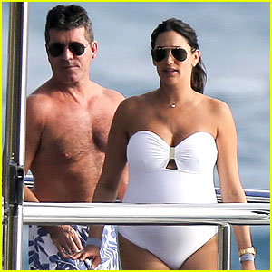 Simon Cowell & Very Pregnant Girlfriend Relax on a Yacht