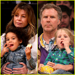 Ellen Pompeo & Will Ferrell: Lakers Courtside Seats with the Kids!