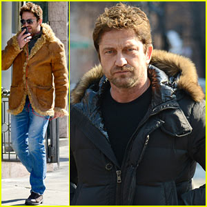 Gerard Butler Wears Furry Brown Coat to Keep Warm