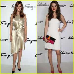 Hilary Swank & Alison Brie: Salvatore Ferragamo Milan Fashion Show