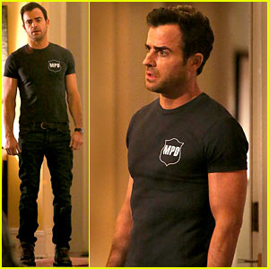 Justin Theroux Looks Shocked & Upset on 'Leftovers' Set