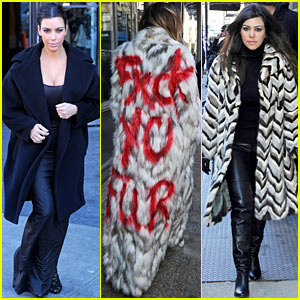 Kim Kardashian Shops with Her Sisters, Khloe Spray Paints 'Fxck Yo Fur' on Her Coat!