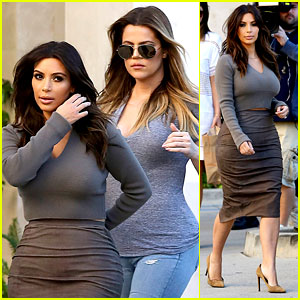 Kim Kardashian Goes Back to Brunette Hair, Steps Out with Sisters Khloe & Ky