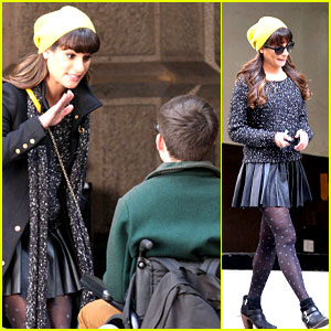 Lea Michele Films 'Glee' New York Scenes with Kevin McHale!