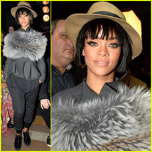 Rihanna Wears Her Fur to the Lanvin Paris Fashion Show