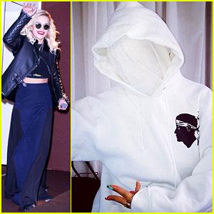 Rita Ora Replicates Kanye West's Yeezus Look with White Mask