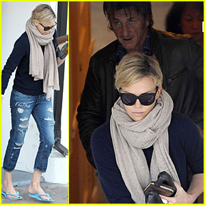 Sean Penn Pampers Charlize Theron at Nail Salon!