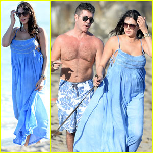Shirtless Simon Cowell & Lauren Silverman: Post-Baby Beachside Stroll