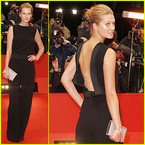Toni Garrn Bares Back at 'Monuments Men' Berlinale Premiere!