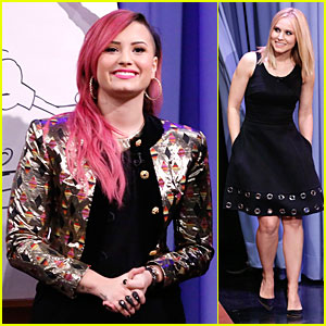 Demi Lovato & Kristen Bell Show Game Spirit in Round of Pictionary on 'Tonight Show'!