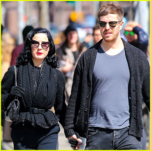 Dita Von Teese Holds Hands with Mystery Man in the Big Apple!