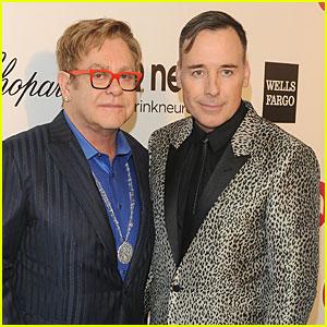 Elton John & David Furnish: Fierce Hosts at AIDS Oscars Party 2014!