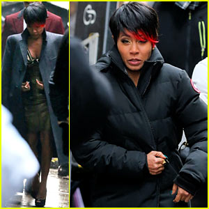 Jada Pinkett Smith Debuts Red Dipped Bangs, Sexy Dress on 'Gotham' Set!