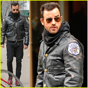 Justin Theroux Stays Warm in Chicago Police Leather Jacket!