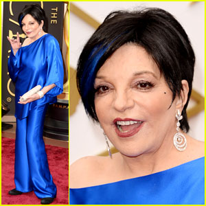 Liza Minnelli Wears Blue Streak in Hair at Oscars 2014