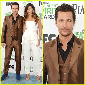 Matthew McConaughey Sports Flashy Brown Suit at Independent Spirit Awards with Camila Alves!