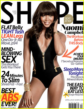 Naomi Campbell Displays Her Amazing Bathing Suit Body for 'Shape' April 2014