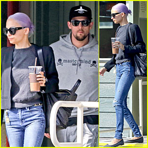Nicole Richie Proudly Rocks New Purple Hair at Lunch with Joel Madden!