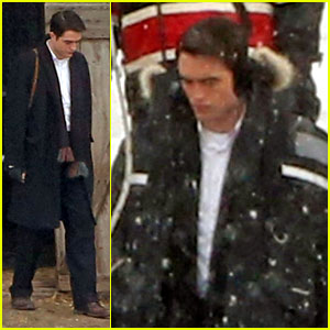 Robert Pattinson Keeps Warm with Earmuffs on Snowy 'Life' Set