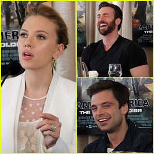 Scarlett Johansson Flashes Engagement Ring at 'Captain America' Press Conference