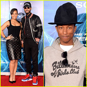 Alicia Keys & Pharrell Williams Make Music at 'Amazing Spider-Man 2' Premiere