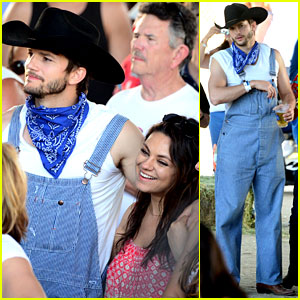 Ashton Kutcher Wears His Country Clothes at Stagecoach Festival with Pregnant Mila Kunis!