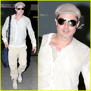 Brad Pitt Has Too Much Star Power to Go Unnoticed at LAX!