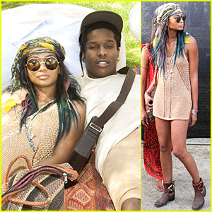 Chanel Iman & A$AP Rocky Relax on the Grass at Coachella!