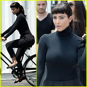 Kim Kardashian Rocks a Wig with Bangs on Miami Photo Shoot!