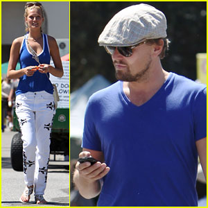 Leonardo DiCaprio & Girlfriend Toni Garrn Wear Matching Shirts to the Farmer's Market!