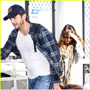 Pregnant Mila Kunis & Ashton Kutcher Arrive Home for Easter