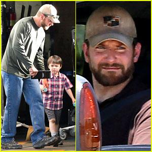 Bradley Cooper Shows Off His Parenting Skills on 'Sniper' Set!