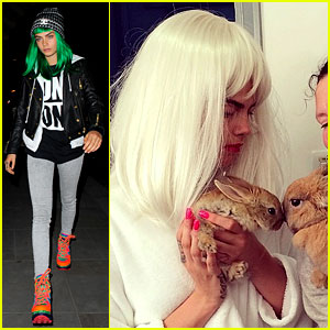 Cara Delevingne Wears Green & White Wigs: See the Two Looks!