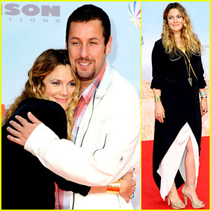 Drew Barrymore Hugs Adam Sandler on 'Blended' Red Carpet!