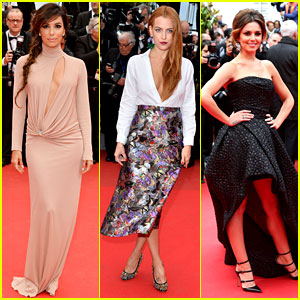 Eva Longoria & Riley Keough Glam Up for 'Foxcatcher' Premiere