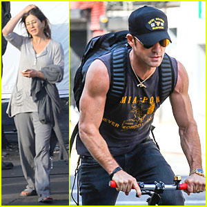 Jennifer Aniston Continues 'Cake' Filming, Justin Theroux Wears the Perfect Shirt to Display Hi