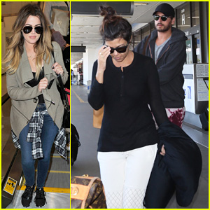 Khloe & Kourtney Kardashian Touch Down at LAX Just in Time for Mother's Day!