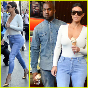 Kim Kardashian & Kanye West Stop for Ice Cream in Paris!