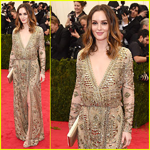 Leighton Meester Takes the Golden Plunge at Met Ball 2014!