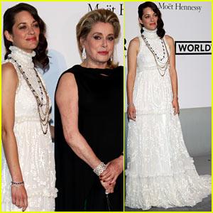Marion Cotillard Accompanies French Actress Catherine Deneuve at the amfAR Gala 2014